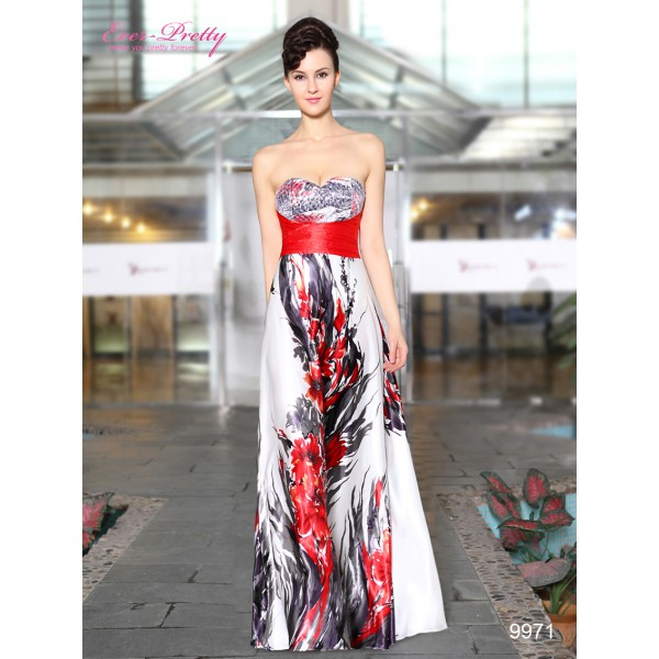 3034759e0df Ohnivé saténové bílé společenské korzetové šaty Ever Pretty 9971 ...