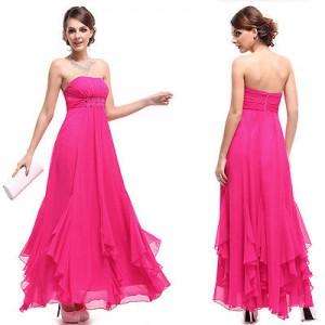 Sexy sytě růžové večerní šaty Ever Pretty bez ramínek 9765