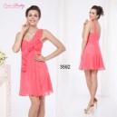 Růžové společenské, večerné letní krátké šaty s volánky Ever Pretty 3592