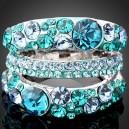 Luxusní prsten bílé zlato, modrý Swarovski krystal J1055