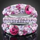 Luxusní prsten bílé zlato, fialový Swarovski krystal J1056