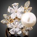 Luxusní prsten, žluté zlato, perla, růže, Swarovski krystal J1095