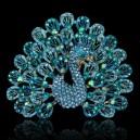 Luxusní módní brož - páv, safír Swarovski krystal P0430