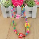 Dětský, dívčí dřevěný set náhrdelník + náramek s motýlky barevný