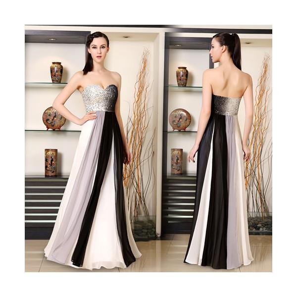 b1ea8f41533 Luxusní pruhované černé šedé společenské korzetové šaty 9958 - Angel ...
