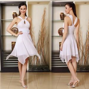 Stylové bílé společenské letní krátké šaty Ever Pretty 3887