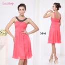 Korálově červené společenské, letní  šaty Ever Pretty s korálky 3646