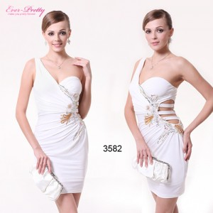 Sexy elastické bílé společenské dámské šaty - vel. 44