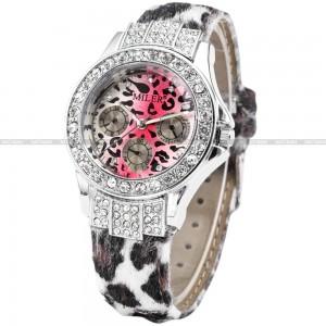 Luxusní módní dámské hodinky leopardí s krystaly stříbrné