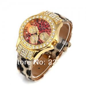 Luxusní módní dámské hodinky leopardí s krystaly zlaté