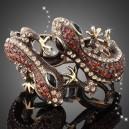 Luxusní stříbrný náramek, ještěrka červený swarovski krystal B0004