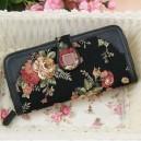 Dámská peněženka Anna Sui - retro výšivka růží černá