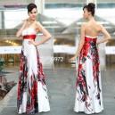 Ohnivé saténové bílé společenské korzetové šaty Ever Pretty 9972