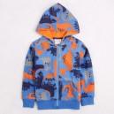 Dětská chlapecká mikina, bunda na zip s kapucí, fleesová, modrá s dinosaury