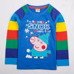 Dětské chlapecké tričko, triko s dlouhým rukávem modré s proužky Peppa Pig