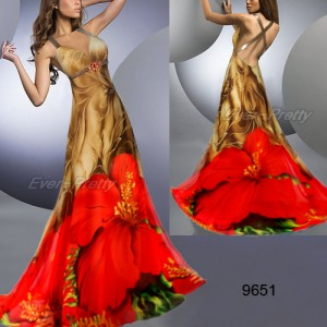 Úchvatné květinové dámské letní šaty Ever Pretty - hnědé, červený květ