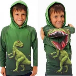 Dětská, chlapecká mikina, zelená dinosaurus s efektem