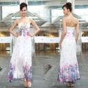 Letní dámské společenské, dlouhé šaty bez ramínek bílé s potiskem květin a výšivkou Ever Pretty 9935