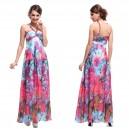 Letní dámské společenské, dlouhé šaty růžové s květy Ever Pretty 9737