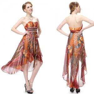 Letní dámské společenské, polodlouhé šaty s květy Ever Pretty 6091 - hnědé