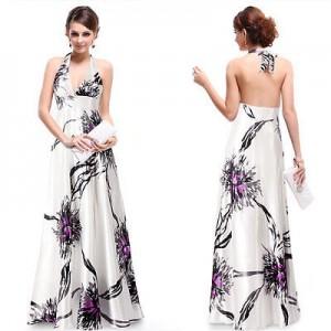 Ohnivé saténové bílé společenské šaty Ever Pretty 9614 - fialové květy