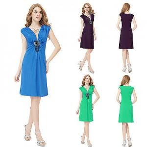 Dámské, letní, plážové, společenské krátké šaty Ever Pretty s ornamentem 3280 - fialové, zelené, modré