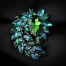 Luxusní módní brož - kapka zelený, modrý Swarovski krystal P0605