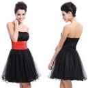 Rozkošné černé krátké šaty s volánkovou sukní  Ever Pretty 3214 - červené