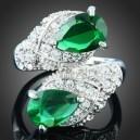 Luxusní prsten, bílé zlato, čirý a zelený Swarovski krystal J2708