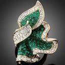 Luxusní dámský zlatý prsten clear & smaragd Swarovski krystal J0096