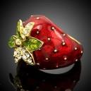 Luxusní dámský zlatý prsten jahoda Swarovski krystal J1830