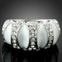 Luxusní smaltový prsten bílé zlato, bílý Swarovski krystal J0929