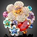 Luxusní prsten žluté zlato, květiny barevný Swarovski krystal J1774
