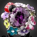 Luxusní prsten žluté zlato, květiny, beruška, motýl, barevný Swarovski krystal J1783