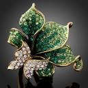 Luxusní prsten žluté zlato, velká květina a motýl Swarovski krystal J0514