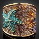 Luxusní prsten žluté zlato, starfish barevný Swarovski krystal J0185