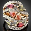 Luxusní prsten žluté zlato, topaz Swarovski krystal J1091