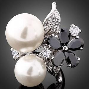 Luxusní prsten bílé zlato, perly, květina, bílý Swarovski krystal J1083