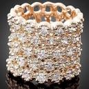 Luxusní prsten žluté zlato, bílý Swarovski krystal J1126