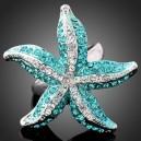 Luxusní prsten bílé zlato, mořská hvězdice, modrý Swarovski krystal J0389