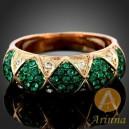 Luxusní prsten, žluté zlato, smaragd Swarovski krystal J0894