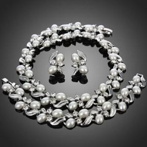 Luxusní perlový set - náhrdelník + náramek + náušnice bílé zlato Swarovski krystal G0265