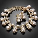 Luxusní perlový set - náhrdelník + náušnice žluté zlato Swarovski krystal G0279