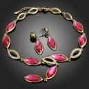 Luxusní set - náhrdelník + náušnice fuksia Swarovski krystal G0179