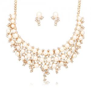 Luxusní perlový set - náhrdelník + náušnice žluté zlato Swarovski krystal G0801