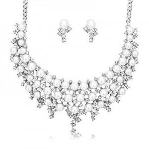 Luxusní perlový set - náhrdelník + náušnice bílé zlato Swarovski krystal G0801