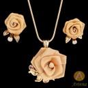 Luxusní set - náhrdelník + náušnice růže, Swarovski krystal  G0374