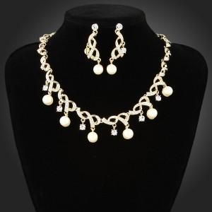 Luxusní perlový set - náhrdelník + náušnice žluté zlato Swarovski krystal G0689