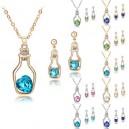 Dámský set - náhrdelník + náušnice srdce v láhvi Swarovski krystal G0815 - 4 barvy, 2 varianty