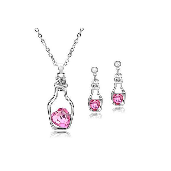 7cc06c518 Dámský set - náhrdelník + náušnice srdce v láhvi Swarovski krystal G0815 -  4 barvy, 2 varianty